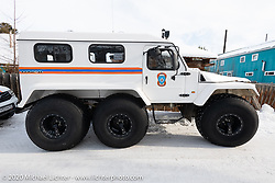 An appropriate Siberian police vehicle at the Baikal Mile Ice Speed Festival. Maksimiha, Siberia, Russia. Wednesday, February 26, 2020. Photography ©2020 Michael Lichter.