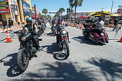 Leticia Cline, Kissa Von Addams and the Iron Lillies on the Hot Leathers ride in downtown Daytona during the Daytona Bike Week 75th Anniversary event. FL, USA. Tuesday March 8, 2016.  Photography ©2016 Michael Lichter.