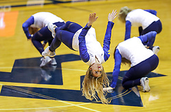 Feb 2, 2019; Morgantown, WV, USA; The West Virginia Mountaineers dance team performs during the first half against the Oklahoma Sooners at WVU Coliseum. Mandatory Credit: Ben Queen-USA TODAY Sports