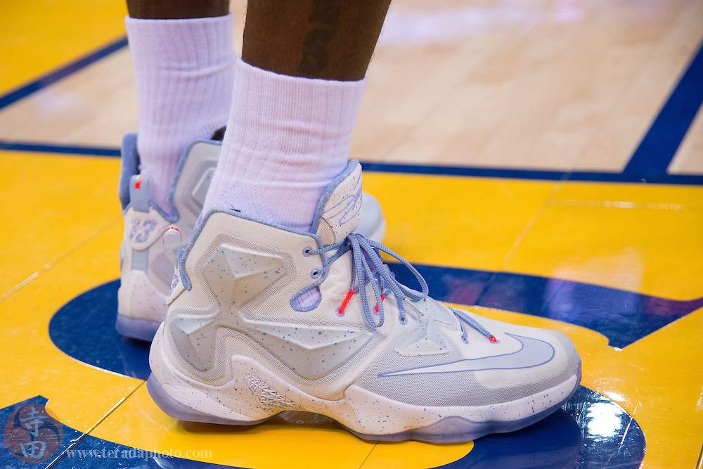 December 25, 2015; Oakland, CA, USA; Detail view of the shoes worn by Cleveland Cavaliers forward LeBron James (23) during the second quarter in a NBA basketball game on Christmas against the Golden State Warriors at Oracle Arena. The Warriors defeated the Cavaliers 89-83.
