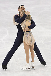 February 8, 2018 - Pyeongchang, South Korea - CHRIS KNIERIM and ALEXA SCIMECA KNIERIM of Colorado Springs embrace Friday, February 9, 2018, after competing in the pairs Short Program Team event on opening day of the Figure Skating Team competition at the Winter Olympic Games in at the Gangneung Ice Arena in Pyeongchang, S. Korea.  Photo by Mark Reis, ZUMA Press/The Gazette (Credit Image: © Mark Reis via ZUMA Wire)