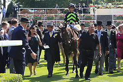 Jockey John Velazquez celebrates after winning the King's Stand Stake with Lady Aurelia during day one of Royal Ascot at Ascot Racecourse.