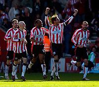 Photo: Alan Crowhurst.<br />Southampton v Cardiff City. Coca Cola Championship. 01/04/2006. Saints Claus Lundekvam celebrates his goal.