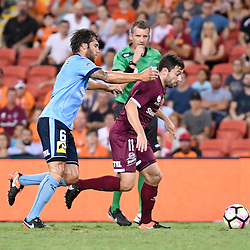 BRISBANE, AUSTRALIA - FEBRUARY 3: Tommy Oar of the Roar and Joshua Brillante of Sydney compete for the ball during the round 18 Hyundai A-League match between the Brisbane Roar and Sydney FC at Suncorp Stadium on February 3, 2017 in Brisbane, Australia. (Photo by Patrick Kearney/Brisbane Roar)