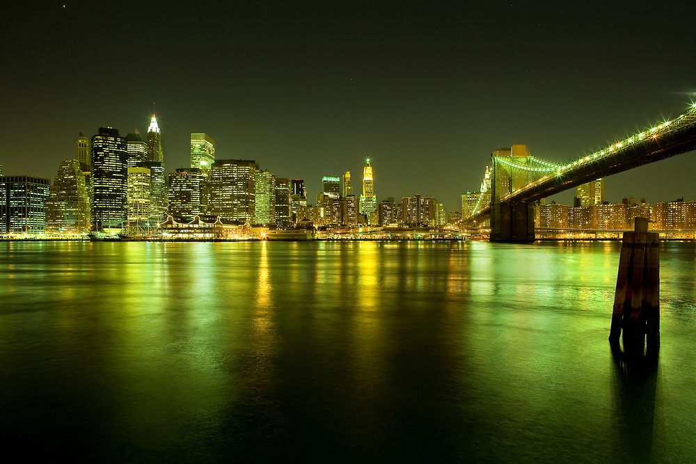 Skyline of Manhattan and Brooklyn Bridge, United States, North America