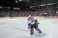 KELOWNA, CANADA - APRIL 26: Michael Herringer #30 of the Kelowna Rockets skates to the net during third period against the Seattle Thunderbirds on April 26, 2017 at Prospera Place in Kelowna, British Columbia, Canada.  (Photo by Marissa Baecker/Shoot the Breeze)  *** Local Caption ***