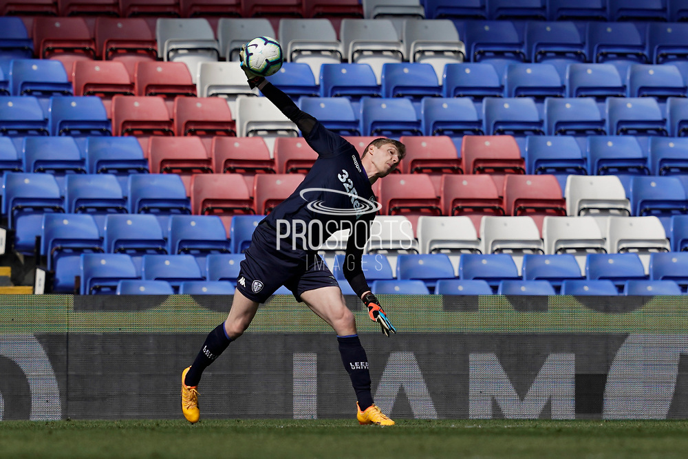 Kamil Miazek of Leeds United U23 throws the ball out during the U23 Professional Development League match between U23 Crystal Palace and Leeds United at Selhurst Park, London, England on 15 April 2019.