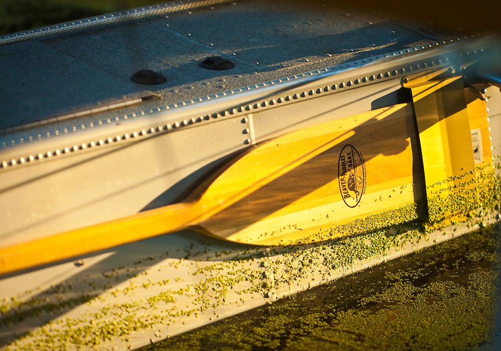 Oar stored on a seaplane pontoon.  AirVenture 2008 in Oshkosh, Wisconsin.