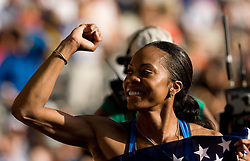 Sanya Richards of the United States celebrate winning the gold medal in the women's 4x400 Metres Relay Finalduring day nine of the 12th IAAF World Athletics Championships at the Olympic Stadium on August 23, 2009 in Berlin, Germany. (Photo by Vid Ponikvar / Sportida)