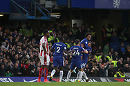 Willian is the first to congratulate Danny Drinkwater of Chelsea ® as they celebrate Drinkwater scores his teams 2nd goal. Premier league match, Chelsea v Stoke city at Stamford Bridge in London on Saturday 30th December 2017.<br /> pic by Kieran Clarke, Andrew Orchard sports photography.