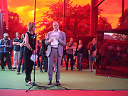 JULIA PEYTON-JONES; HANS ULRICH OBRIST, Serpentine Pavilion private view. Kensington Gardens. London. 12 September 2010. -DO NOT ARCHIVE-© Copyright Photograph by Dafydd Jones. 248 Clapham Rd. London SW9 0PZ. Tel 0207 820 0771. www.dafjones.com.
