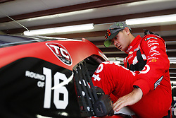 September 22, 2017 - Loudon, New Hampshire, United States of America - September 22, 2017 - Loudon, New Hampshire, USA: Kyle Larson (42) hangs out in the garage during practice for the ISM Connect 300 at New Hampshire Motor Speedway in Loudon, New Hampshire. (Credit Image: © Justin R. Noe Asp Inc/ASP via ZUMA Wire)