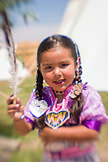 Native American girl portrait at the Cheyenne Frontier Days Indian Village in Cheyenne, Wyoming.