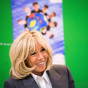 Official state visit of French President Emmanuel Macron and his wife Brigitte Macron to the kingdom of Belgium . Visit to La Maisonnee graphic arts ateliers, media and bakery<br /> Pix : Brigitte Macron <br /> Credit : pool / Laurie Diffenbach<br /> .<br /> .<br /> .<br /> @isopixbelgium #france @elysee #elysee #macron #republiquefrancaise #instagood #picoftheday #fashion #elegant #stylish <br /> #brigittemacron #smiling #portrait #closeup @lauriedfmbq