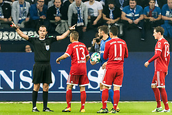 referee Marco Fritzx decidedn to give a penalty after the video referee told him during the Bundesliga match between Schalke 04 and Bayern Munich on September 19, 2017 at the VELTINS-Arena in Gelsenkirchen, Germany