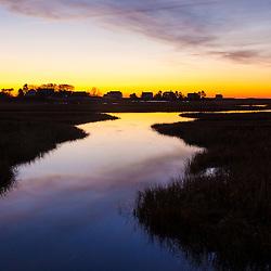 Tidal creek at dawn in Rye, New Hampshire.