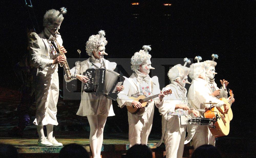 © London News PIctures. Musicians perform at Cirque Du Soleil Alegria opening night, O² Arena, London UK, 18 July 2013. Photo credit: Richard Goldschmidt/LNP