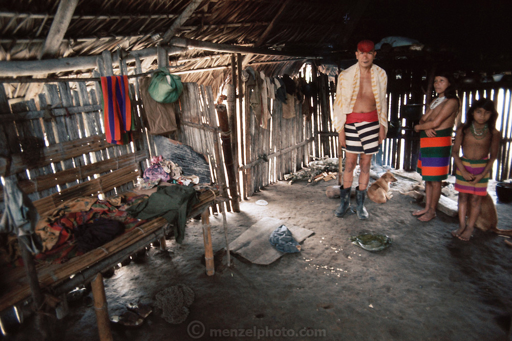 Santo Domingo, Ecuador; interior, Colorado Indian home.