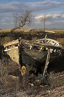An abandoned old boat in Cabo de Gata, Almeria, Spain