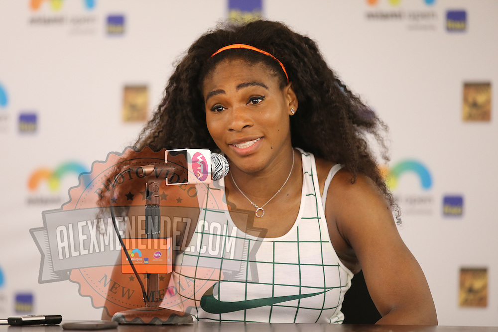 Serena Williams of the United States speaks to members of the media about her victory over Svetlana Kuznetsova of Russia during their match at the Miami Open tennis tournament at Crandon Park on Monday, March 30, 2015 in Key Biscayne, Florida. Williams won the match 6-2, 6-3. (AP Photo/Alex Menendez)