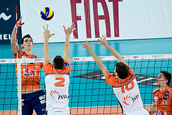Alen Sket of ACH Volley vs Lukas Divis of Jastrzebski during volleyball match between ACH Volley (SLO) and Jastrzebski Wegiel (POL) in 6th Round of 2011 CEV Champions League, on January 12, 2011 in Arena Stozice, Ljubljana, Slovenia. (Photo By Matic Klansek Velej / Sportida.com)