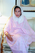 Pakistan People's Party leader Benazir Bhutto during an interview in her home November 10, 1988 in Karachi, Pakistan.