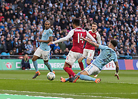 Football - 2018 Carabao (EFL/League) Cup Final - Manchester City vs. Arsenal<br /> <br /> Kyle Walker (Manchester City) times his tackle to perfection as Pierre-Emerick Aubameyang (Arsenal FC) eyes up the goal at Wembley.<br /> <br /> COLORSPORT/DANIEL BEARHAM