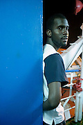 A liberian football player portrayed in the ferry from Brava to Fogo island. After fled his homeland Liberia due to civil war more than 15 years ago this refugee lived in Gambia and Guinea Conakri before going to Cape Verde to play football as a way of earning his life.