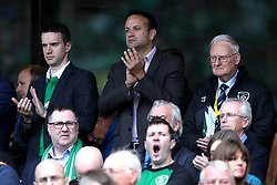 Leader of Fine Gael Leo Varadkar (centre) in the stands during the 2018 FIFA World Cup Qualifying, Group D match at the Aviva Stadium, Dublin.