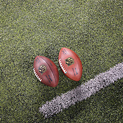 NFL Footballs on the sideline before the New York Jets Vs Chicago Bears, NFL regular season game at MetLife Stadium, East Rutherford, NJ, USA. 22nd September 2014. Photo Tim Clayton for the New York Times