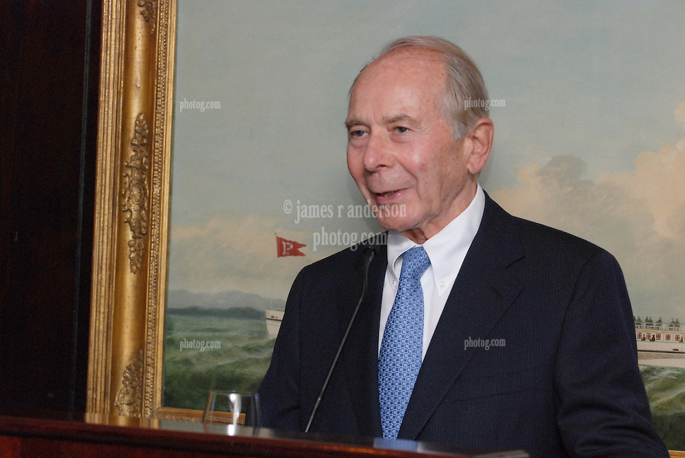 """Maurice R. """"Hank"""" Greenberg speaks at a reception honoring the endowment of the David Boies Professorship of Law at Yale Law School. 21 Club, NYC on 18 Sept 2007."""