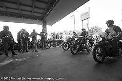 Hans Coertse, Darryl Richman and the rest of class 1 ready to leave the start on the final day stage 16 (142 miles) of the Motorcycle Cannonball Cross-Country Endurance Run, which on this day ran from Yakima to Tacoma, WA, USA. Sunday, September 21, 2014.  Photography ©2014 Michael Lichter.