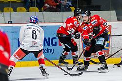 10.03.2019, Ice Rink, Znojmo, CZE, EBEL, HC Orli Znojmo vs HC TWK Innsbruck Die Haie, Qualifikationsrunde, 54. Runde, im Bild v.l. Clemens Paulweber (HC TWK Innsbruck) Michal Kruckovych (HC Orli Znojmo) Marek Spacek (HC Orli Znojmo) // during the Erste Bank Eishockey League 54th round match between HC Orli Znojmo and HC TWK Innsbruck Die Haie at the Ice Rink in Znojmo, Czech Republic on 2019/03/10. EXPA Pictures © 2019, PhotoCredit: EXPA/ Rostislav Pfeffer