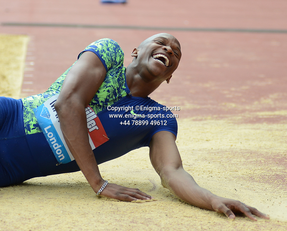 Luvo Manyonga wins the men's long jump at the IAAF Diamond League at the Queen Elizabeth Olympic Park London, England on 20 July 2019.