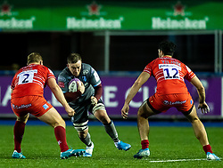 Will Boyde of Cardiff Blues lines up Jake Kerr of Leicester Tigers<br /> <br /> Photographer Simon King/Replay Images<br /> <br /> European Rugby Challenge Cup Round 2 - Cardiff Blues v Leicester Tigers - Saturday 23rd November 2019 - Cardiff Arms Park - Cardiff<br /> <br /> World Copyright © Replay Images . All rights reserved. info@replayimages.co.uk - http://replayimages.co.uk