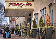 Soldiers staying at the Hampton Inn  in Washington DC to secure Biden's inuguration after the insurgency on Jan. 6, 2021.