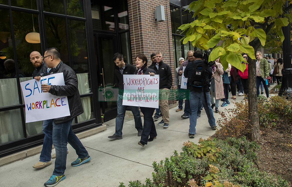 November 1, 2018 - Chicago, IL, USA - Employees at Google's Chicago office in the Fulton Market district walked out of their workplace on Thursday, Nov.1, 2018 in protest of the company's reported handing of sexual misconduct allegations. (Credit Image: © Zbigniew Bzdak/Chicago Tribune/TNS via ZUMA Wire)