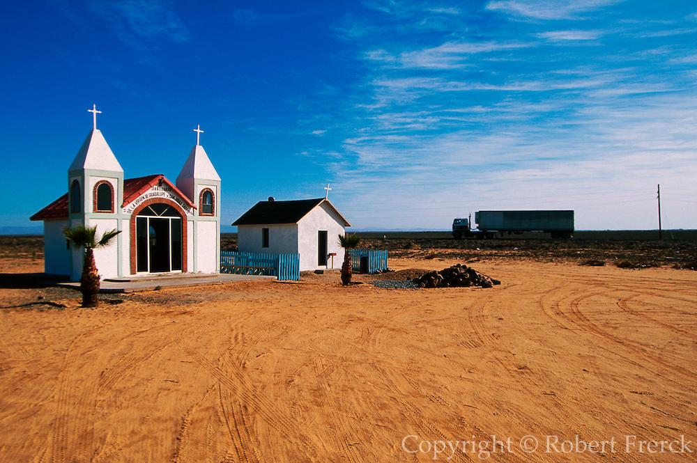 MEXICO, BAJA CALIFORNIA SOUTH Small chapels along the Transpeninsular Highway at Guerrero Negro in the Vizcaino desert