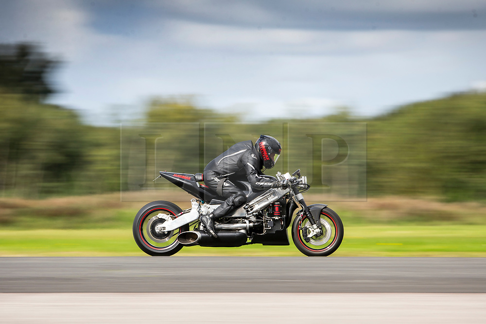 © Licensed to London News Pictures. 16/09/2017. York UK. Zef Eisenberg the current holder of the Guinness & World land speed record for the fastest Jet Turbine bike has made his comeback this morning riding a Jet Turbine bike at Elvington Airfield near York after a near fatal 230mph crash last year. Straightliners Top Speed weekend is similar to the famous Bonneville land speed events in the US only lower cost & more convenient for Europeans. Photo credit: Andrew McCaren/LNP