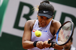 May 30, 2019 - Paris, France - Japan's Naomi Osaka  hits a ball during the women's singles second round of the French Open tennis tournament against Belarus' Victoria Azarenka at Roland Garros in Paris, France on May 30, 2019. (Credit Image: © Ibrahim Ezzat/NurPhoto via ZUMA Press)