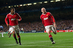 06.04.2011, Stamford Bridge, London, ENG, UEFA CL, Viertelfinale, Hinspiel, Chelsea FC (ENG) vs Manchester United (ENG), im Bild Manchester United's Wayne Rooney celebrates scoring the first goal against Chelsea during the UEFA Champions League Quarter-Final 1st leg match at Stamford Bridge, EXPA Pictures © 2011, PhotoCredit: EXPA/ Propaganda/ D. Rawcliffe *** ATTENTION *** UK OUT!