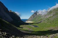 Summer view towards Horseid beach, Moskenesøy, Lofoten Islands, Norway