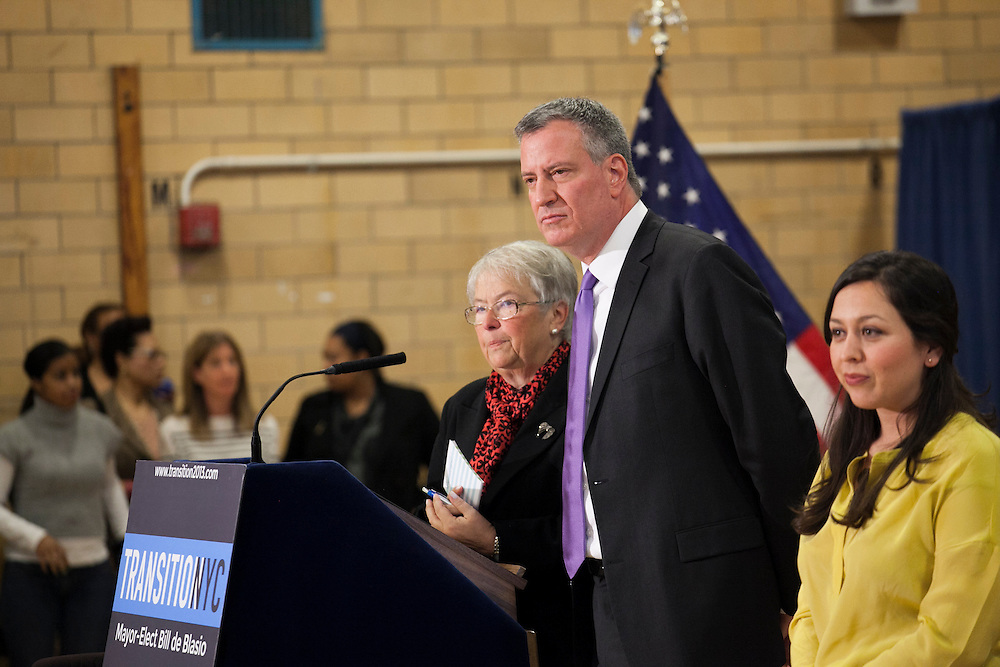 Mayor-Elect Bill de Blasio announces his appointment of Carmen Fariña, left, as Schools Chancellor at William Alexander Middle School in Park Slope, Brooklyn, NY on Monday, Dec. 30, 2013. At far right is Ursulina Ramierez, whom Fariña selected as her Chief of Staff.<br /> <br /> CREDIT: Andrew Hinderaker for The Wall Street Journal<br /> SLUG: NYSTANDALONE