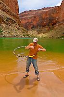 River guide Steve Law hula hooping, Colorado River, Marble Canyon, Grand Canyon National Park, Arizona USA