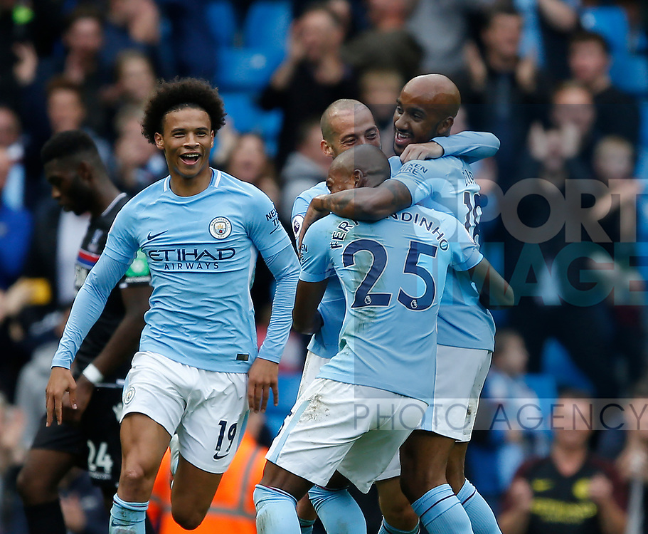 Fabian Delph of Manchester City celebrates scoring the fifth goal during the premier league match at the Etihad Stadium, Manchester. Picture date 22nd September 2017. Picture credit should read: Simon Bellis/Sportimage