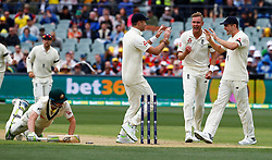England's Stuart Broad celebrateswith team mates after Australia's Cameron Bancroft is runout during day one of the Ashes Test match at the Adelaide Oval, Adelaide.