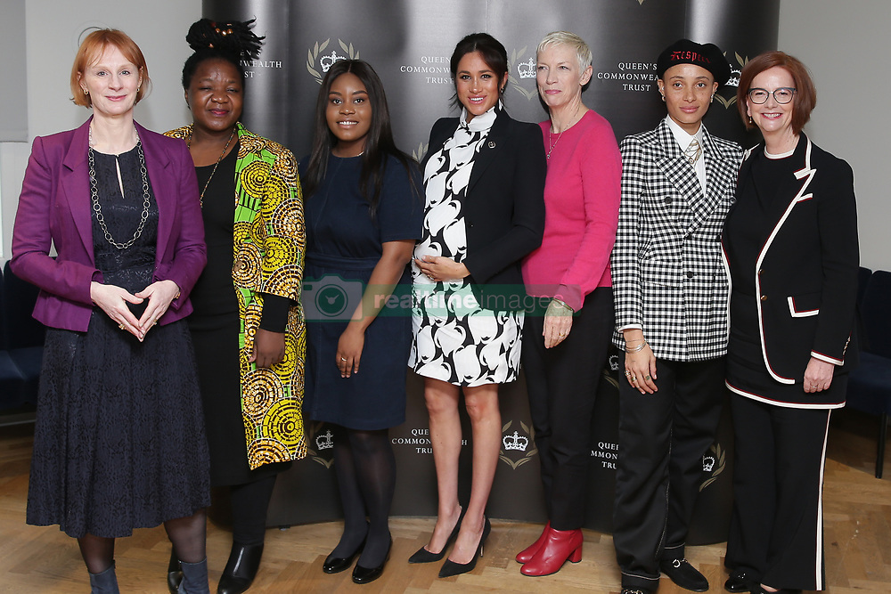 March 8, 2019 - London, London, United Kingdom - Image licensed to i-Images Picture Agency. 08/03/2019. London, United Kingdom. (L-R) British journalist Anne McElvoy, Camfed Regional Director Zimbabwe's Angeline Murimirwa, British campaigner Chrisann Jarrett, Britain's Meghan, Duchess of Sussex, British singer Annie Lennox, British model Adwoa Aboah and former Australian Prime Minister Julia Gillard  take part in a panel discussion in London, convened by the Queen's Commonwealth Trust to mark International Women's Day  (Credit Image: © Pool/i-Images via ZUMA Press)