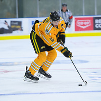 1st year defence man Carter Hansen (15) of the Regina Cougars during the Shine On game on October 28 at The Co-Operators Arena. Credit: /Arthur Images