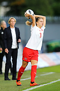 Naomi Megroz (#3) of Switzerland takes a throw in during the 2019 FIFA Women's World Cup UEFA Qualifier match between Scotland Women and Switzerland at the Simple Digital Arena, St Mirren, Scotland on 30 August 2018.