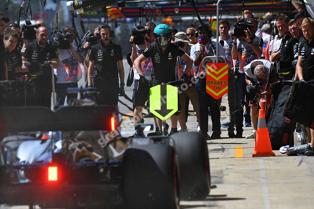 Pit stop for Lewis Hamilton (Mercedes)  during practice for the 2019 Spanish Grand Prix at the Circuit de Barcelona-Catalunya. Photo: Grand Prix Photo